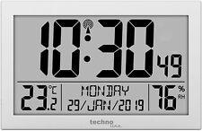 Funkwanduhr LCD Display Uhr Luftfeuchte Temperatur silber Technoline