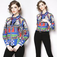 2019 Spring Summer Queen Print Collar OL Casual Long Sleeve Womens Shirt Blouses