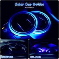 1x Solar Cup Pad Car Accessories LED Blue Light Cover Interior Decoration Light
