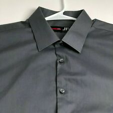 JF J. Ferrar Men's Short Sleeve Button Up Shirt XL Gray Slim Fit Casual