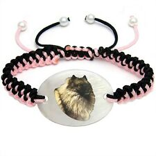 Keeshond Dog Natural Mother Of Pearl Adjustable Knot Bracelet Chain BS241