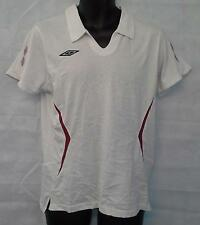 Umbro Womens Cotton Short Sleeve White Polo Shirt Top Size UK 10 Brand New #291