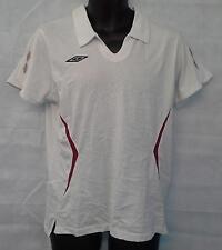 Umbro Womens Cotton Short Sleeve White Polo Shirt Top Size UK 14 Brand New #1880
