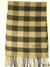 NEW Cashmere Scarf Black Dark Gray Plaid Checks Stripes Soft Warm Men Women C5