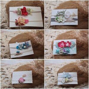 Set of 2 Baby Girls Newborn Organic Flower Tiebacks headband  Photo Prop