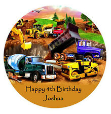 CONSTRUCTION TRUCKS Edible WAFER Party Birthday Cake Decoration Topper Image