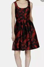 £250 Karen Millen Jacquard Dress Uk 10 Full Skirt Pockets Black Red