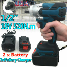 New Listing520nm 12 Electric Impact Wrench Cordless Brushless Gun 2 Battery Driver Tool