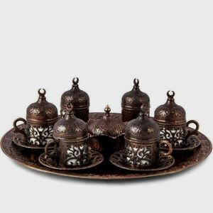 Espresso Turkish Coffee Set Copper Cups Saucers Tray Handcrafted Handmade