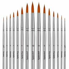 Paint Brush Set - 15 Round Pointed Tip Watercolor Brushes for Fine Detail