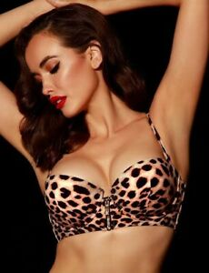 Honey Birdette Vegas Swim Leopard Bikini Top 16DD