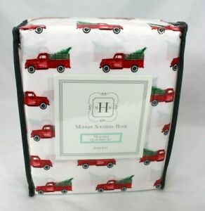 Modern Southern Home Farmhouse Red Truck Holiday Christmas Queen Sheet Set NWT