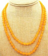 """Fashion Women's Natural 8mm Yellow Jade Round Beads Necklace 36"""" Long AAA"""