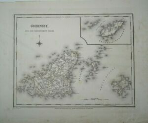 Antique map of Guernsey by Samuel Lewis 1834