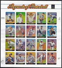 US Stamps #3048 a-t - Legends of Baseball - MNH - sheet of 20 - 2000   - B7776