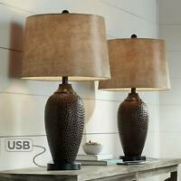 Rustic Industrial Table Lamp with USB Hammered Bronze Faux Leather Living Room