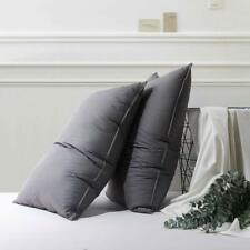 Goose Down Bed Pillows for Sleeping 100% Egyptian Cotton QueenSize (2-Pack) Grey