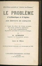 Le probleme d'arithmetique et d'algebre aux brevets de capacité Aymard Aubin1920