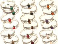 Silver Plated Free Postage Cuff Handmade Amethyst Mix Gemstone Jewelry 15Pcs