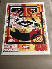 OBEY Giant Shepard Fairey Obey 3 Face Collage Litho Lower Signed and Dated