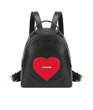 Heart Embroidery Zaino pelle sintetica nerorosso