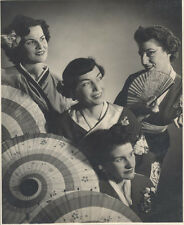 ORIGINAL VINTAGE PORTRAIT OF FOUR WOMEN IN GEISHA COSTUMES