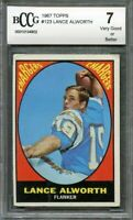 1967 topps #123 LANCE ALWORTH san diego chargers BGS BCCG 7