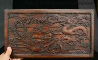 "16"" Chinese Huang Huali Wood Dragon Phoenix Storage Jewelry Box Treasure Case"