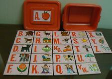 Playskool Alphabet Picture Matchups Interlocking Puzzle Cards - Plastic Box Vtg
