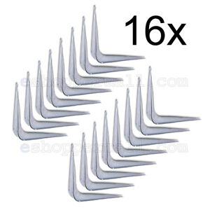 "16 X White Enamel Shelf Brackets Angled Metal Shelving Support Arms - 3"" x 4"" BN"