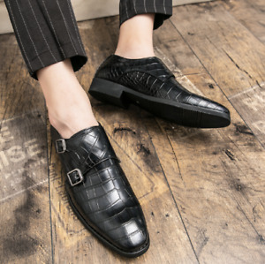 Mens Shoes Business Buckles Formal Party Cocktail New Crocodile Skin Pumps 38-48