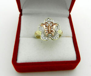 Real 14k Multi Tone Gold Butterfly Flower Ladies Ring with Accent Stones
