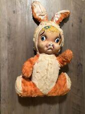 Vintage Easter Bunny Sad Rubber Face Blue Eyes Orange White Color Plush Stuffed