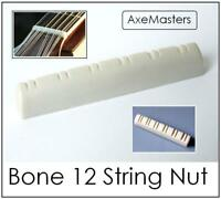 AxeMasters SLOTTED BONE NUT for 12 String Acoustic and Electric Guitar
