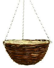 "4 x 16"" Natural Wicker Rattan Hanging Basket"