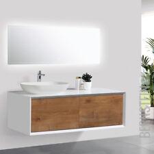Badmöbel 120 cm Eiche LED Spiegel Aufsatzwaschbecken Unterschrank Waschtisch