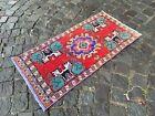 Small rug, Geometric handmade rug, Turkish rug, Kitchen rug | 1,3 x 3,2 ft