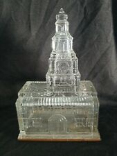 RARE! Original Antique Independence Hall Glass Candy Container Bank NRMT