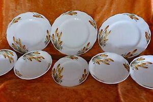 vintage GRINDLEY CREAMPETAL Fire Poker part dinner set ENGLAND china plates bowl