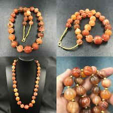 Wonderful African Old Pumkin Carved Carnelian Agate Stone Beads Necklace