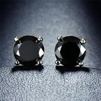 Created Black Diamond 14K White Gold Stud Earrings Screw Back Wedding Day Gift