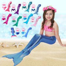 Girls Kids Fin Fun Mermaid Tail Swimmable Bikini Set Swimsuit Swimming Cosplay