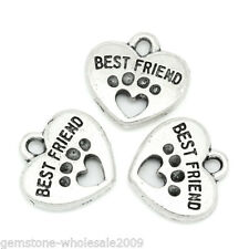 Dog Paw Silver Tone 15mmx15mm Gw Wholesale Lots W09 Charm Pendants Carved Letter