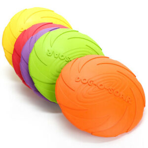 Dog Rubber Frisbee Toy Soft Chew Bite Flying Discs Training Interactive Puppy