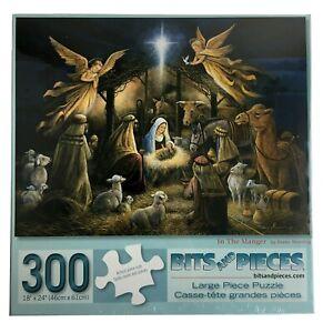 In The Manger Jigsaw Puzzle 300 Large Nativity scene Jesus Mary Joseph Angels St
