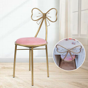 Nordic Style Colourful Velvet Cushion Butterfly Backrest Chairs Gold Frame Leg