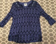 EUCBeach Lunch Lounge Blue Ikat Print Boho V-Neck 3/4 Sleeve Tunic Top M India
