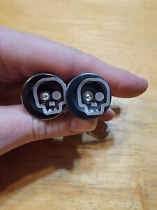 Skull Bicycle Bike Handlebar Bar End Plugs Gun Metal Gray