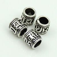4 PCS 925 Sterling Silver 6x6mm Tibetan Chanting Words Barrel Bead WSP205X4