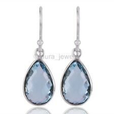 Blue Topaz Drop Earring with 925 Sterling Silver